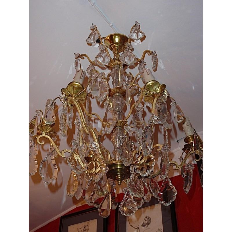 grand lustre bronze et cristal ann es 30 le grenier d 39 amatxi. Black Bedroom Furniture Sets. Home Design Ideas