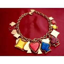 """Collier """"Jeu de cartes"""" charms résine Yves Saint Laurent"""
