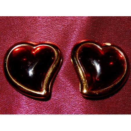 """Boucles d'oreilles Yves Saint Laurent """"Coeur résine rouge"""""""