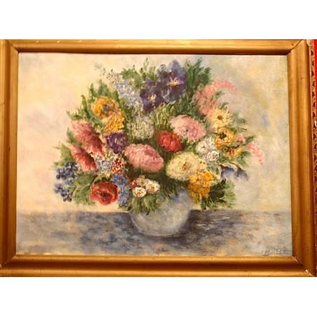 Important bouquet, huile sur carton par I.Mire