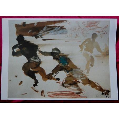 Antonio Uria Monzon litho rugby édition limitée signée à la pointe de plomb