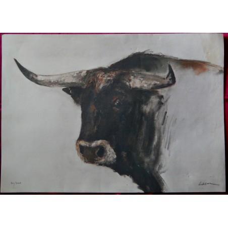 Jacques Lasserre litho taureau, numérotée, signée