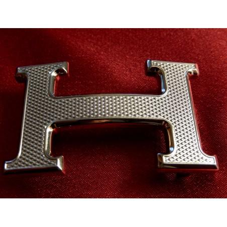 Boucle de ceinture Hermès H guillochée palladiée