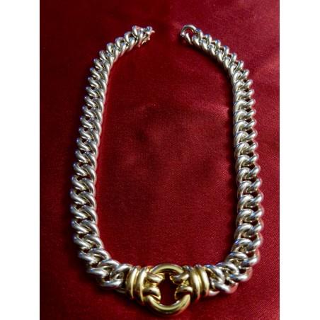 Collier ras de cou Hermès Eros argent et or jaune