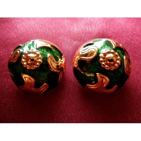 Boucles d'oreilles Yves Saint Laurent émail vert
