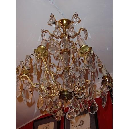 Grand lustre bronze et cristal années 30