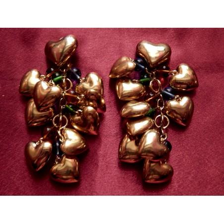 Boucles d'oreilles créateur cascade de coeurs et perles Murano