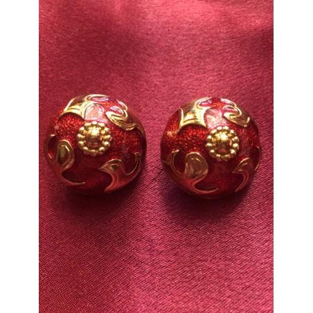 Boucles d'oreilles Yves Saint Laurent émail rouge