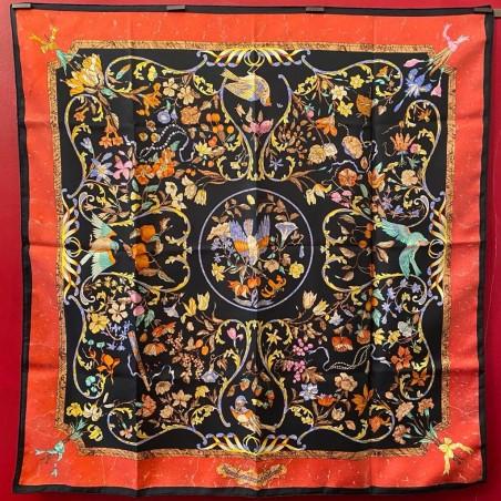 Carré foulard Hermès Pierres d'Orient e d'Occident bords rouges