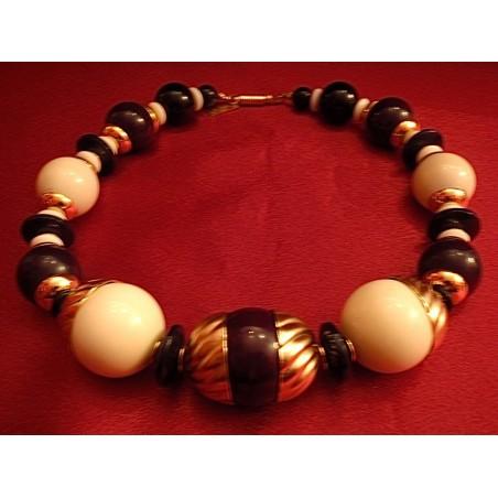 Collier ras de cou vintage Balenciaga perles ivoires et noires
